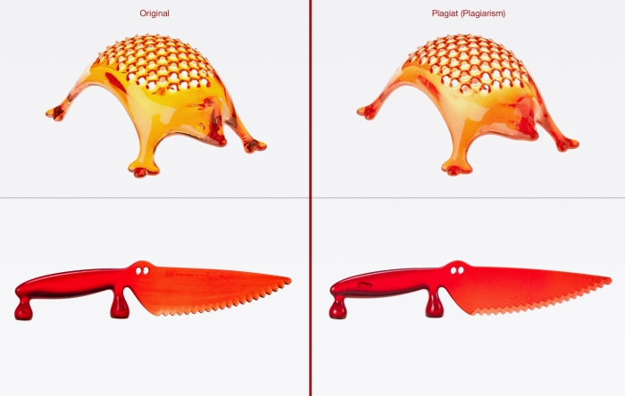 """Eine von sieben gleichrangigen Auszeichnungen ging an die Käsereibe """"Kasimir"""" und das Kuchenmesser """"Coco"""". Original (l): koziol »ideas for friends GmbH, Erbach, Deutschland Plagiat (r): Import: Zabriskie Studio, S.L., Barcelona, Spanien • Vertrieb: Natura Selection, S.L., Barcelona, Spanien • Herstellung: VR China"""