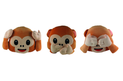 New Emoji For Whats app No Saying No Looking and No Listening Monkey Pillow Cushion Stuffed2 - Am Anfang war das :-)